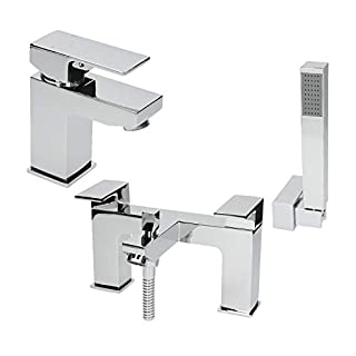 Modern Bathroom Square Mono Basin Sink Mixer Tap and Bath Shower Filler Tap Set with Shower Handset and Hose Attachment