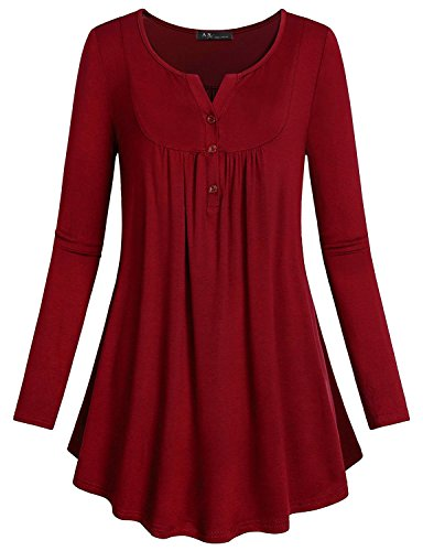 Anna Smith Lässige Tuniken Für Frauen, Mädchen Langarm Split V Kragen Petite Tops und Blusen Rouched Drapierte Grundlegende Shirts Soft Resilient Komfortable Chic Kleidung Für Office Lady Red Large