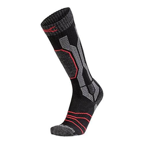 Jeep Herren XP Lange Wandersocken Wintersocke, Black/Dark Grey Melange/Red, 39/42 -