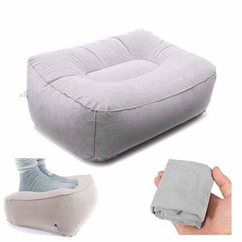 AUDEW Tragbarer Aufblasbare Fußstütze Kissen Fußablage Fusskissen Grau