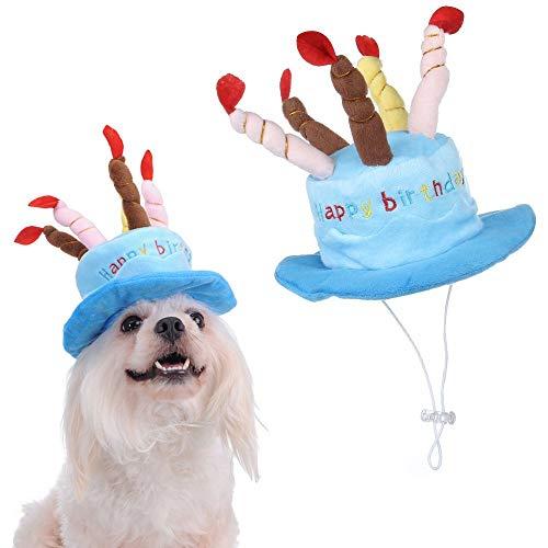 (Jamisonme Kerzen Pet Geburtstag Hut Katze Hund Party Hut mit Kuchen und bunten Kerzen Pet Kostüm Zubehör für Hunde Katzen Kleine Tiere (blau))