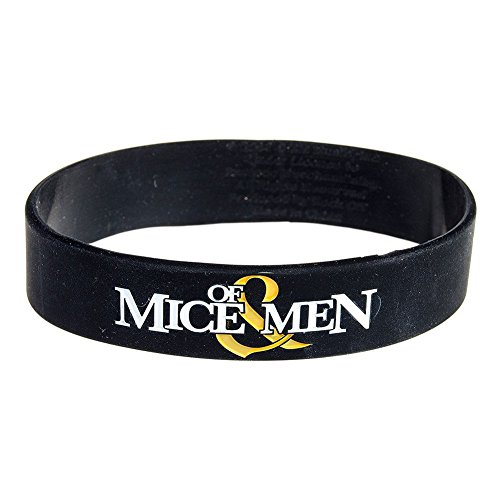 Of Mice & Men Black Wristband Gummy Rubber Bracelet Band Logo Name Gift (Black Metal Music Band)