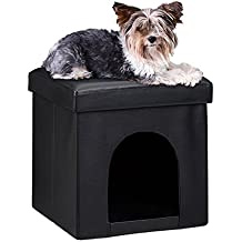 Relaxdays Taburete Casa para Perros Plegable, Piel sintética, Negro, 38 x 38 x