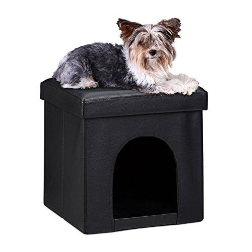 Relaxdays – Asiento con casa para mascotas hecho de cuero artificial con medidas 38 x 38 x 38 cm peso 2.5 Kg banco taburete reposapies, color negro