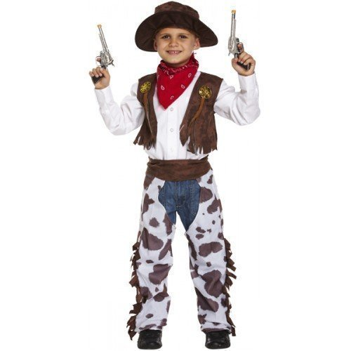 Wilder Westen Sheriff Halloween Kostüm Kleid Outfit - Braun, 10-12 Jahre (152-158) (Cowboy Chaps Kostüme)