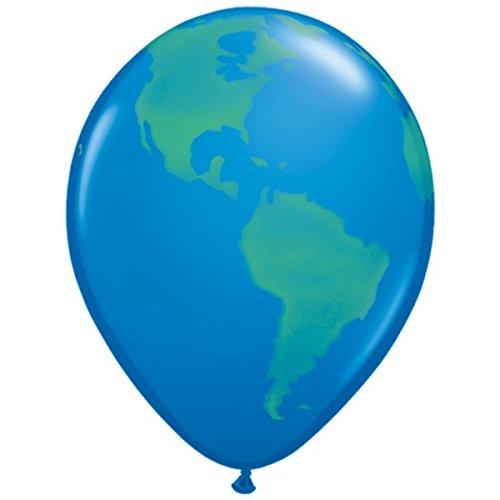 Planète Terre/Globe 27.9cm Qualatex Ballons En Latex x 5