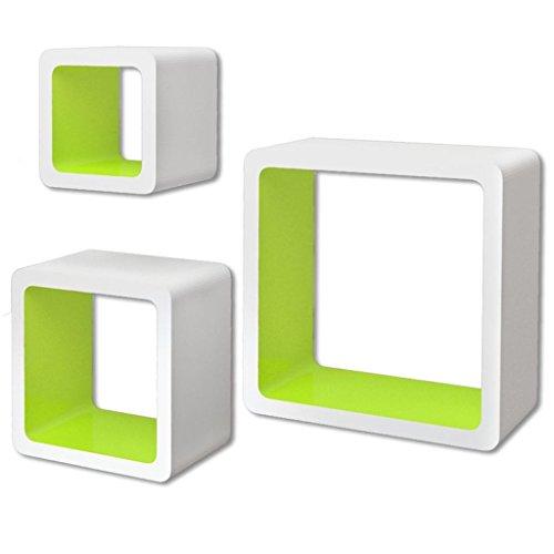 vidaXL 3 Etagères cubes murales en MDF Blanc-Vert Stockage rangement pour Livres/DVD