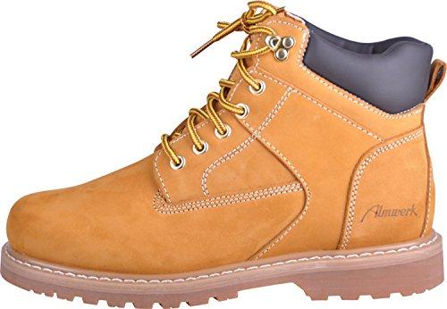 Almwerk Damen und Herren robuste Herbst-Winter-Schuhe mit oder ohne Fütterung, Hellbraun, 45 (Mittellange Hose)