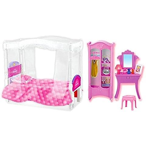 Himmelbett mit Schrank und Spiegel für Puppen, Barbies und Modepuppen
