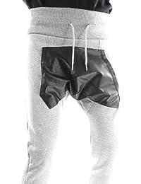 Solamode - Pantalon Sarouel Effet Cuir - Gangster Unit - Malboro - Unisexe - Gris clair