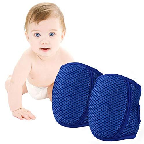 Knieschoner Baby Krabbeln, Kleinkind Knie Kriechende Schutz Anti-Rutsch Gummipunkte Verstellbarer Protektoren,Blau