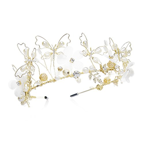 SWEETV Stunning Bridal Headband Tiara Pearl CZ Crystal Hair Band Gold Wedding Hair Pieces