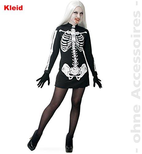 Zombie-Girl, kurzes Kleid langärmlig Skelettaufdruck Halloween Zombie Damen-Kostüm Skelett Karneval *NEU bei Pibivibi© (M)