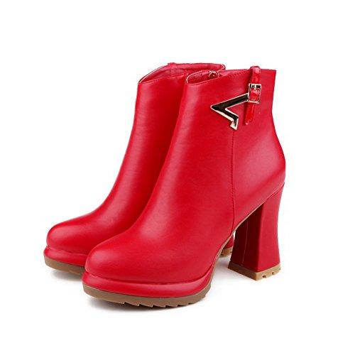 AllhqFashion Damen Rund Zehe Hoher Absatz Niedrig-Spitze Rein Stiefel Rot