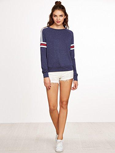ROMWE Damen Baseball Langarm T-Shirt Locker Sportlich Sweatshirt Blau