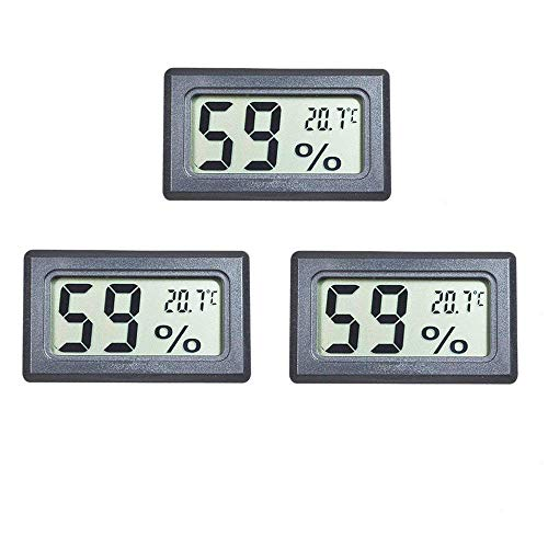 EEEKit 3er-Pack LCD-Digital-Temperatur-Feuchtemessgerät Thermometer, Mini-Digital-Thermometer-Hygrometer und Luftfeuchtigkeitsmesser für Gewächshaus/Autos/Zuhause/Büro (Schwarz)