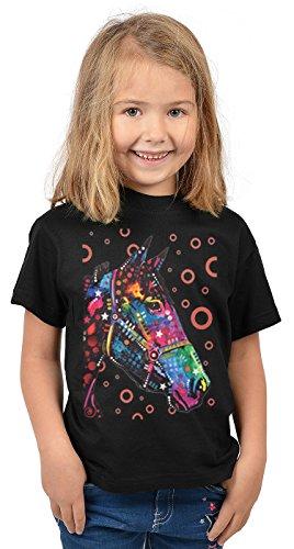 Pferde-Motiv Kindershirt - Kunstdruck Pferd - buntes Pferdeshirt für Kinder : Horse - Tiermotiv Pferd Kinder T-Shirt Gr: L = 146-152