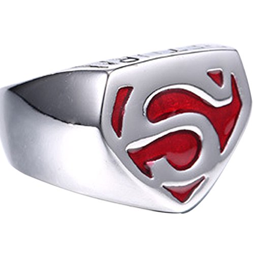 Jewelry Superman 316L Vintage Stainless Steel Red Enamel Boy's Men's Band Ring