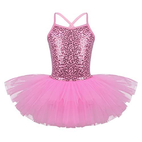 3f66f419b8fad YiZYiF Enfant Fille Justaucorps de Danse Ballet Gymnastique Tutu Robe à  Paillettes Robe sans Manche Brillant