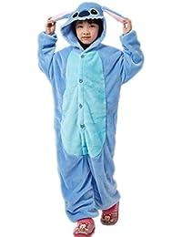 Autek Enfants Enfant Bébé mignon unisexe animaux Grenouillère Costume de déguisement Hoodies Pyjamas Pyjama Stitch bleu