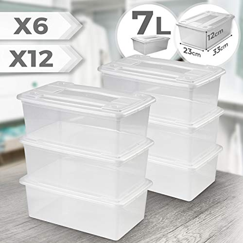 Jago Aufbewahrungsbox Set - 6er Set, aus Plastik, Transparent, Stapelbar, mit Deckel, ca. 33 x 23 x 11.7 cm - Schuhbox, Schuhkarton, Kunststoffkiste, Schuhaufbewahrung, Box, Kunststoffbox, Plastikbox