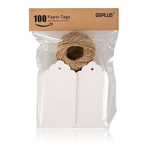 G2PLUS 100Stk. Etiketten Tags 5CM *10CM Geschenkanhänger Anhänger Etiketten mit Jute-Schnur 30 Meter (Weiß) - Zufällige Verpackung