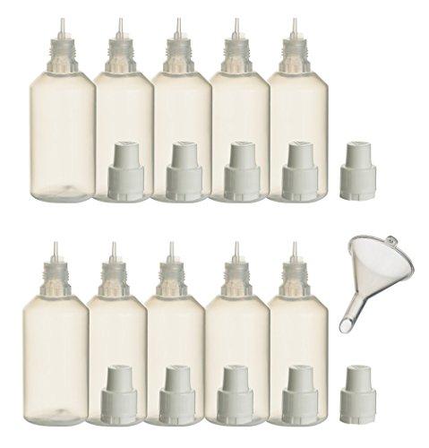10 Stück PP-Flaschen 50 ml incl. 1x Füll-Trichter - Leerflasche Kunststofflasche Plastikflasche Spritzflasche quetschbar zum befüllen und mischen