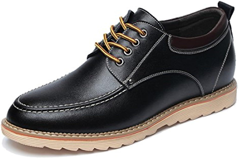 Seaoeey - Zapatos Planos con Cordones de Cuero Hombre -
