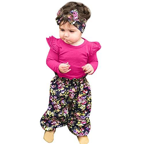 URSING 3 Stück Weich Kleinkind Säugling Baby Mädchen Beiläufig Blumen Drucken Kleider Set Lange Ärmel Tops + Hose + Stirnband Outfits 6-24 Monat (Pink, 24M)