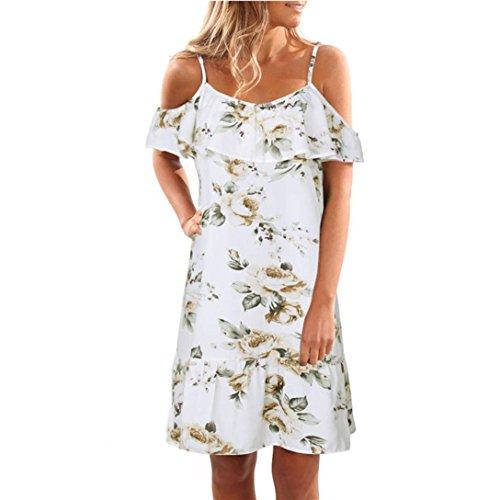 hansee Frauen Sommer Floral Rüschen Kleid off-the-shoulder Gurt Mini Party Kleid, damen Mädchen, 0814, weiß (Stricken Zwei Taschen)