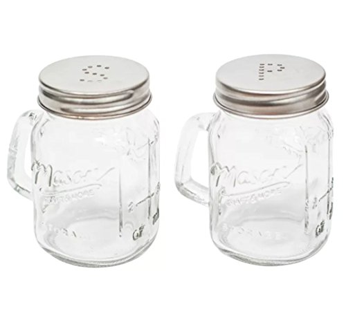 The Kitchen Shop Salière et poivrière en forme de pots Mason en verre