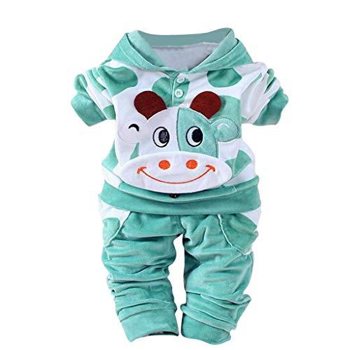 BaZhaHei Neugeborenes Baby Mädchen Jungen Cartoon Kuh warme Outfits Kleidung Samt Kapuzen Tops Set Kapuzenoberteile Outfits Set (Bell Ärmel Samt Kostüm)