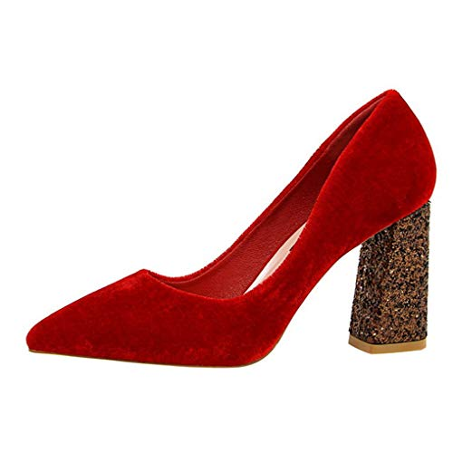 Komfortable gepolsterte Slip-On-Plattform für Frauen mit klobigen Absätzen und spitz zulaufendem Zehenkleid pumpt Schuhe