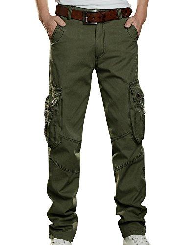 Uomo Pantaloni Cargo Pantaloni Militari Pantaloni Da Lavoro Uomo Per Casual, Sport, Viaggio Verde 33