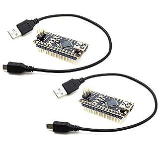 AptoFun 2pcs Nano V3.0 mit Org.ATmega328P/ FT232RL Chip Development Board mit USB Kabel, kompatibel mit Arduino (2 Black)