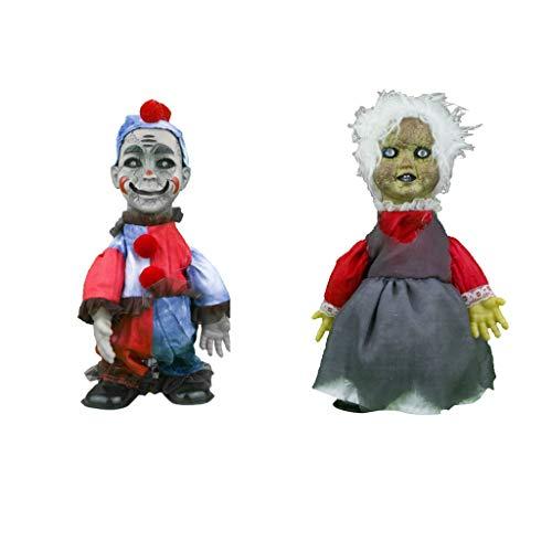perfeclan 2 Stücke Screaming Haunted Doll Paranormal Horror Babypuppe Junge Mann / Alte Frau Figuren Halloween Dekorationen Mitbringsel
