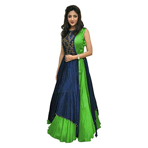Anarkali suits (KESU Fashion Women\'s Printed un-stitched Salwar Suit\\dress Material without dupatta In Banglori Fabric (KUMD1003-B) Green