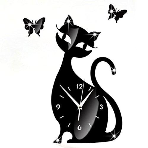 Wanduhr Digital Schwarz Nette Katze Spiegel Modernes Design Wohnkultur Uhr Wandaufkleber LuckyGirls