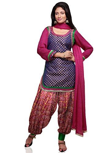 Utsav Fashion Chanderi Brocade Punjabi Suit in Royal Blue Colour