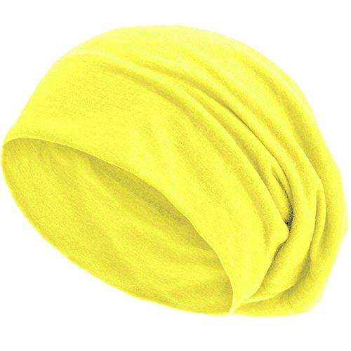 style3 Slouch Beanie aus atmungsaktivem, feinem und leichten Jersey Unisex Mütze Haube Bini Einheitsgröße, Farbe:Neon-Gelb