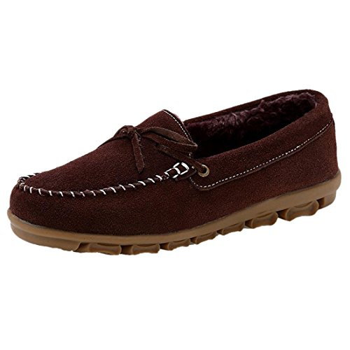 Suede Court Peluche Casaul Mode Hiver Chaud Femmes Antiderapant Slip-On Chaussures Brun fonce