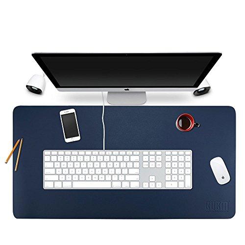 Alfombrilla protectora para escritorio de Bubm; 90 x 45 cm, organizador de escritorio de piel sintética, material secante, con cómoda superficie de escritura, color azul oscuro 90x45cm
