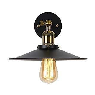 Louvra Industrial Wall Light Vintage Metal Black Wall Lights Antique Iron Retro Edison Adjustable Wall Sconce Lamp for Kitchen Lounge Bar Warehouse,E27 Wall Mounted