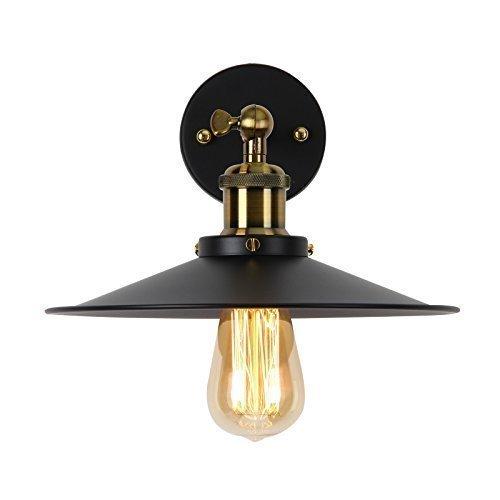 Lightsjoy Vintage Lampen Wand Wandleuchte Schwarz Vintage Wandlampe Retro Industrial e27 Metall Lampenschirm für Wohnzimmer Schlafzimmer Esszimmer Esstisch Küche Bar Flur usw.