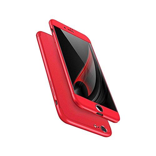 KOBWA iPhone 6s Plus/6 Plus / 7 / 7 Plus / 6 / 6S Hülle, 3 in 1 Ultra Dünner PC Harte Case 360 Grad Ganzkörper Schützend, Anti-Fingerabdruck, Anti-Scratch für Apple IPhone 6 / 7 Each Series 7 Rot