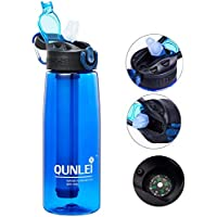 Qunlei Botella de Filtro de Agua, purificador de Agua de Emergencia con Pajita de Filtro integrada de 2 etapas para Viajes, Camping, Senderismo, Mochilas, sin BPA, 22 onzas, Azul