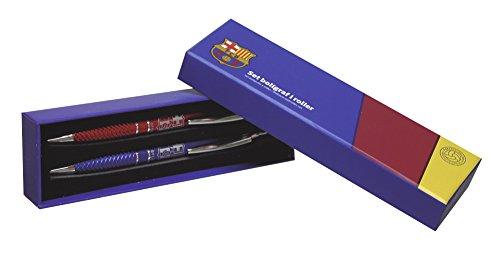Futbol Club Barcelona- 0 Set boligrafo y Roller Juvenil en Caja Regalo, 0 (CYP Imports SET-26-BC)