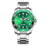 Relojes Pulsera Estilo Submariner Calendario Cuarzo Relojes Hombre Correa de Acero Inoxidable Clásico, Verde