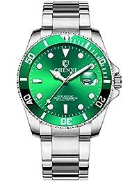 a48ddf45e328 Relojes Pulsera Estilo Submariner Calendario Cuarzo Relojes Hombre Correa  de Acero Inoxidable Clásico