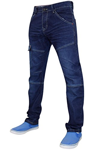 New Mens Ringspun Designer Denim Jeans Combat Pants Cargo Curved Leg Bottom Dark Wash